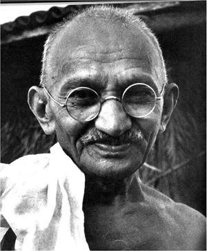 1940s public domain photo of Mohandas K. Gandhi (1869-1948), political and spiritual leader of India. Source: www.dinodia.com.