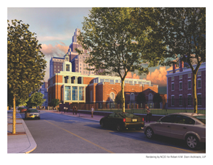 Architect's rendering of proposed Museum of the American Revolution, which will be located at 3rd and Chestnut Streets in Philadelphia. Rendering by NC3D for Robert A.M. Stern Architects, LLP.