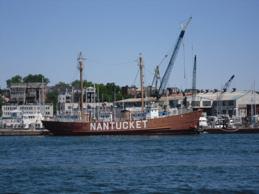 The decommissioned lightship Nantucket in the port of Boston in August. This file is licensed under the Creative Commons Attribution-Share Alike 3.0 Unported license.