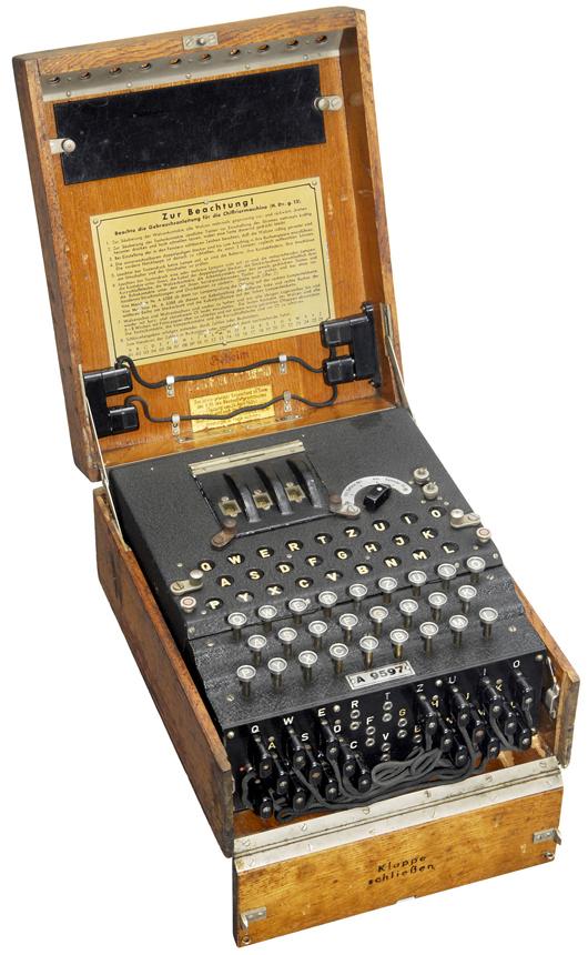 This 1938 Enigma ciphering machine, built by Chiffriermaschinen A.G. Heimsoeth und Rinke of Berlin, sold to an American buyer for 81,158 euros ($100,000). Photo courtesy Auction Team Breker.