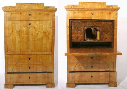 A North German Biedermeier secretaire crafted of cherry and walnut root wood, circa 1840, priced at 3,500 euros ($4,413) in the salesrooms of Kunst und Auktionshaus Schloss Hagenburg. Photo courtesy the auction house.