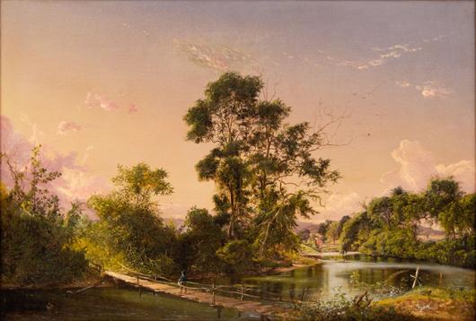 David Johnson (American, 1827-1908), 'Sunset On the Unadilla River,' 1856. Sold amount: $167,400. Keno Auctions images.