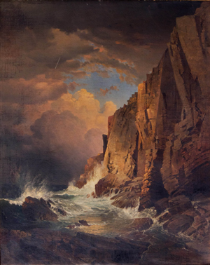 William Trost Richards (American, 1833-1905), 'The Otter Cliffs, Mount Desert Island, Maine,' 1866, oil on panel backed canvas. Sold amount: $235,600 (All results are inclusive of buyer's premiums). Keno Auctions images.
