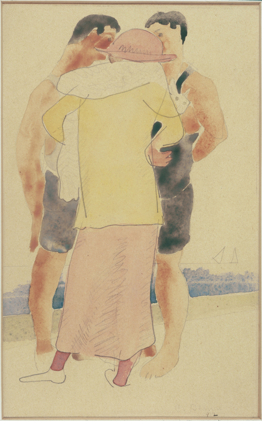 Charles Demuth (American, 1883-1935), 'Two Men and a Woman on the Beach,' 1912. Sold amount: $58,280. Keno Auctions images.