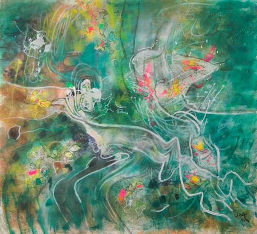 Roberto Matta (Chilean, 1911-2002), 'Topologie de Illusion,' 1990. Sold amount: $99,200. Keno Auctions images.