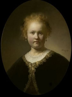 Rembrandt van Rijn (Dutch, 1606-69), Portrait of a Girl Wearing a Gold-Trimmed Cloak, 1632, oil on panel, held in a private collection. Public domain image in USA, accessed through Wikimedia Commons.