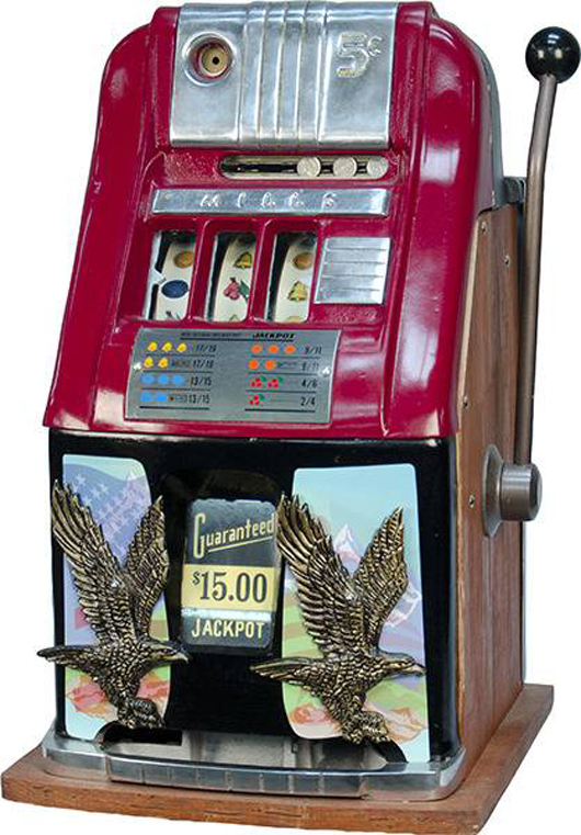 Circa-1952 Mills 5-cent high-top slot machine. Government Auction image.