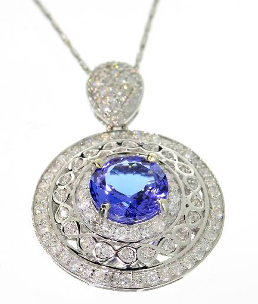 White gold 3-carat tanzanite and diamond necklace. Government Auction image.