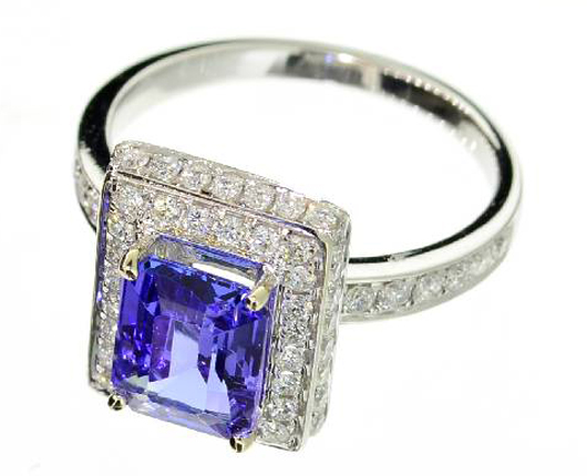 14K white gold 1-carat tanzanite and diamond ring. Government Auction image.