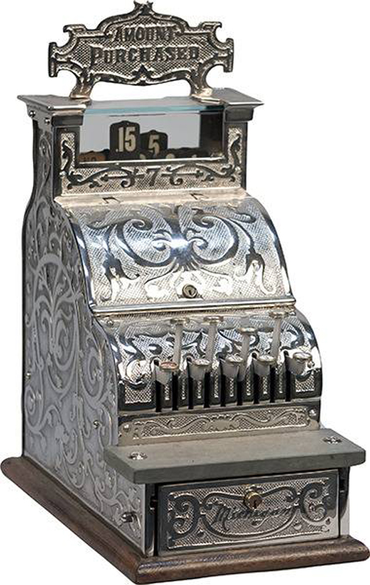 Cast-iron candy store cash register, restored. Government Auction image.