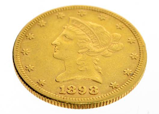 1898 $10 US Liberty Head Double Eagle gold coin. Government Auction image.