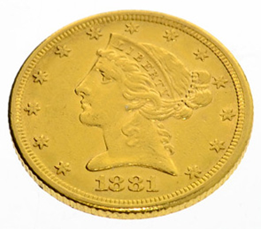 1881 US $5 Liberty Head gold coin. Government Auction image.