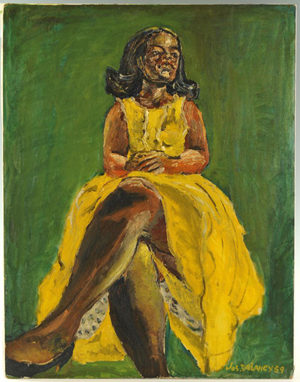 Oil on board painting of a woman in a yellow dress, one of seven works in the auction by Joseph Delaney (Tennessee/New York, 1904-1991). It is estimated at $3,000-$4,000. Case Antiques image.