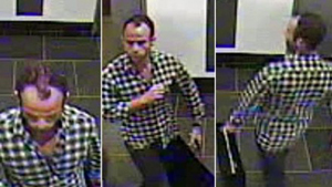 A surveillance camera captured these images of the thief in the gallery. Image used with expressed permission of Venus Over Manhattan gallery.