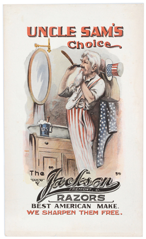 The Uncle Sam image not only represented the United States but was also used to endorse products. This 100-year-old lithographed sign praised the Jackson razor that was used to shave Uncle Sam's beard. William Morford Auctions in Cazenovia, N.Y., sold this sign for $1,925 last fall.