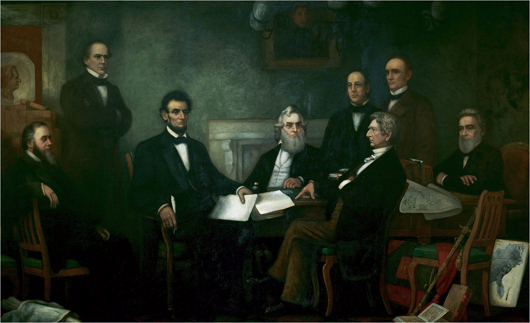 Francis Bicknell Carpenter's 'First Reading of the Emancipation Proclamation of President Lincoln,' 1864, oil on canvas. Image courtesy of Wikimedia Commons.