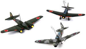 World War Japanese warplanes in the recognition model collection include this trio, lot 1061, which has a $350-$450 estimate. Affiliated Auction & Realty LLC image.