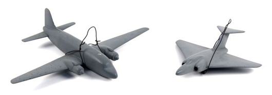 Postwar recognition models include a Viking (left) and Javelin, both 1950-1960, scale 1/72. The Viking measures 10 1/2 inches long, wingspan 15 1/4 inches. The Javelin is 9 inches long and has a wingspan of 8 3/4 inches. Affiliated Auction & Realty LLC image.