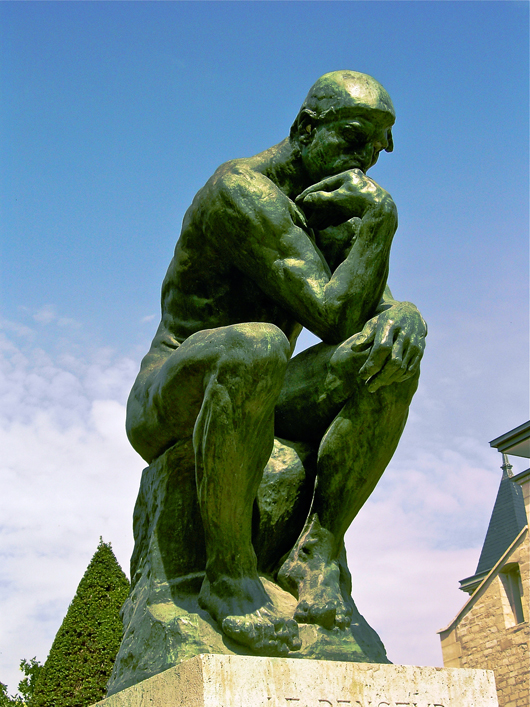 'The Thinker' by Rodin located at the Musée Rodin in Paris. Image courtesy Wikimedia Commons.
