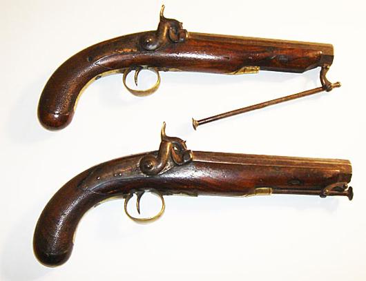 Pair of traveling pistols by Kavanagh, Dublin, circa 1840. Luis Porretta Fine Arts image.