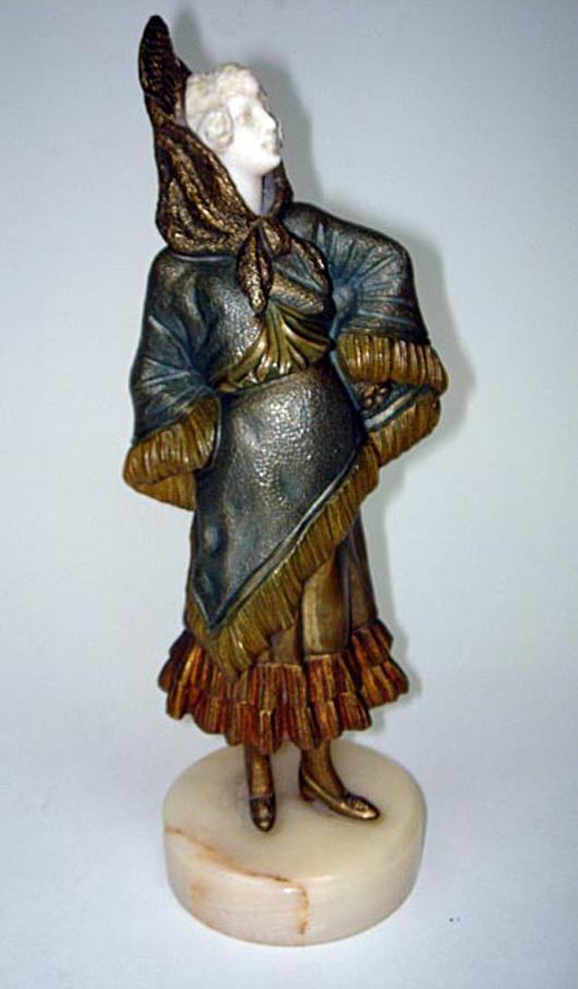 Art Deco bronze and ivory figurine by Bailly, circa 1920. Luis Porretta Fine Arts image.