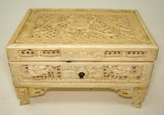 Beautiful Chinese ivory carved dragon casket, circa 1890. Luis Porretta Fine Arts image.