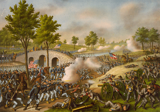 'The Battle of Antietam,' an 1888 lithograph by Kurz & Allison, depicting action at Burnside's Bridge. Image courtesy Wikimedia Commons.