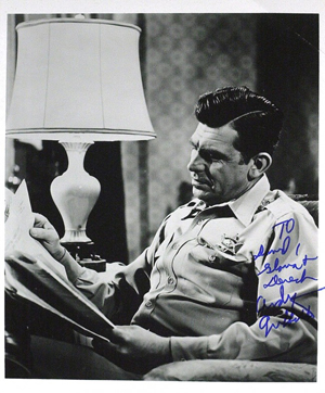 Andy Griffith as Sheriff Andy Taylor. Image courtesy LiveAuctioneers.com Archive and Written Word Autographs.