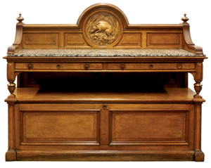 The marble-top Pottier & Stymus sideboard houses the leaves for the table. Clars Auction Gallery image.