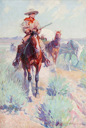 William Herbert 'Buck' Dunton (American 1878-1936), 'The Trail Boss (Settlers and Seeds - Civilization's Forerunners),' sold for $234,000. Michaan's Auctions image.