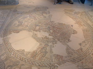 A mosaic floor in a sixth century synagogue in Israel pictures the zodiac. Image courtesy Wikimedia Commons.