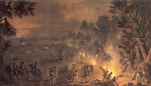 'A Dreadful scene of havock' by Xavier della Gatta, 1782, which depicts the 'Paoli Massacre' of 1777, in the area surrounding present-day Malvern, Pa. The painting is in the collection of the American Revolution Center. Image courtesy Wikimedia Commons.