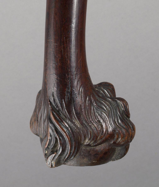 A close-up of the hairy paw foot on the governor's council chairs.Image courtesy Colonial Williamsburg.
