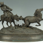Evgeni Alexandrovich Lanceray (Russian, 1848-1886) large patinated bronze 'Capture of a Wild Kirghiz Horse', inscribed E. Lanceray in cyrillic, with foundry mark for F. Chopin in cyrillic, galloped past its $10,000-$15,000 estimate to earn $39,440. It was one of several international lots in the auction that did well and attracted multiple phone and internet bidders. Case Antiques image.