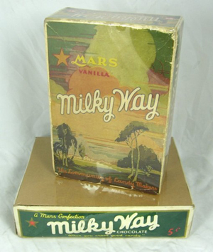 Vintage Milky Way candy boxes. Frank C. Mars created the Milky Way chocolate bar in 1923. Image courtesy LiveAuctioneers.com Archive and Classic Edge Auctions.