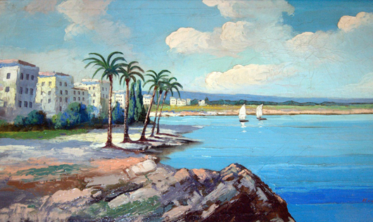 'Mediterranean Beach,' I. Kovacs (1927-) Estimate $2,900. European Art Gallery image.