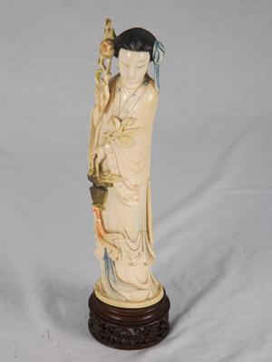 Ivory female Immortal figurine 'He Xiangu,' Republic Period, circa 1900-1925, est. $1,500-$2,000. B. Langston's image.