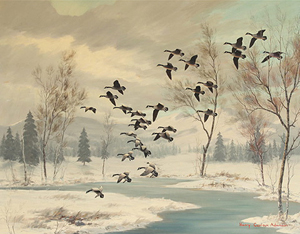 Harry Curieux Adamson (American, b. 1916), 'Geese in Winter,' oil on canvas laid to board. Estimate: $5,000-$10,000. Michaan's Auctions image.