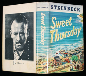 The dust jacket of John Steinbeck's 'Sweet Thursday,' published by Viking in 1954. Image courtesy LiveAuctioneers.com Archive and PBA Galleries.