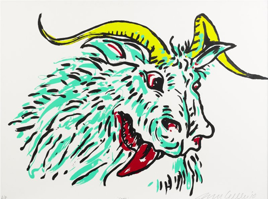 Adam Cullen (Australian, 1965-2012), 'Goat 2000,' lithograph, 58 x 77 cm, auctioned by Shapiro Auctioneers on June 23, 2012. Image courtesy of LiveAuctioneers.com Archive and Shapiro Auctioneers.