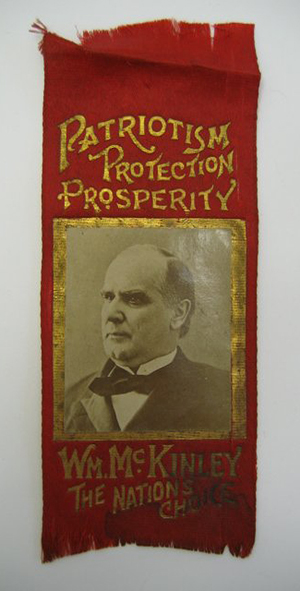 A campaign ribbon for Ohio native William McKinley, 25th president of the United States. Image courtesy LiveAuctioneers.com and Hassinger & Courtney Auctioneering.