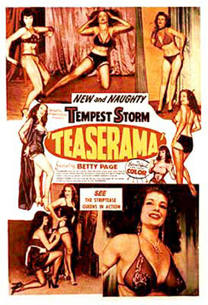 Photographer and filmmaker Irving Klaw (1910-1966) ran the business known as Movie Star News and gained the nickname 'Pin-up King.' This poster promotes one of his films, 'Teaserama,' which starred exotic dancer Tempest Storm and a young Bettie Page. Fair use of low-resolution image under the guidelines of United States copyright law.