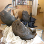Federal agents who arrested antiques dealer David Hausman found a number of illegal items at his New York apartment. Agents seized four black rhinoceros mounts, three of which did not have horns, and one that had fake resin horns attached. Photo courtesy of United States Attorney's Office, Southern District of New York.