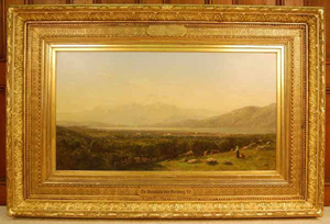 'The Adirondacks from Ferrisburg, Vt.,' by J.B. Bristol, overall size 41 3/4 x 61 3/4 inches in the original frame. Estimate: $50,000-$75,000. Blanchard's Auction Service image.