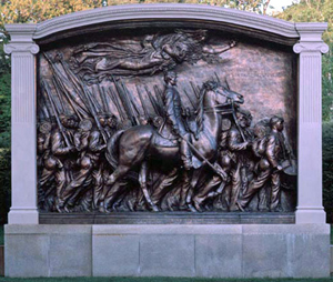 Robert Gould Shaw Memorial, by Augustus Saint-Gaudens (American, 1848-1907). United States National Park Service photograph.