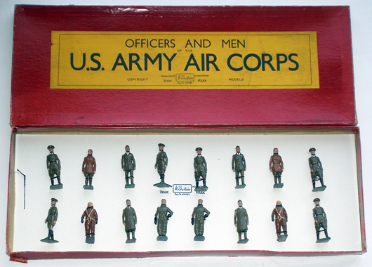 Britains 16-piece U.S. Army Air Corps set #1905, 1940/41 issue only, top lot of the sale, $5,860. Old Toy Soldier Auctions image.