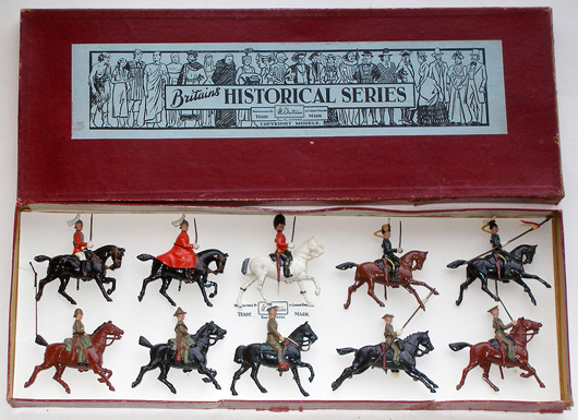 Britains #1873 non-cataloged set from Historical Series made exclusively for FAO Schwarz, numbered 10/17, $5,040. Old Toy Soldier Auctions image.