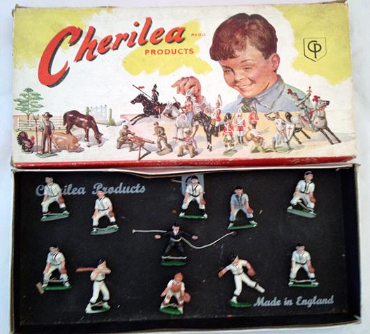 Cherilea 11-piece postwar Baseball set #B/100, figures tied in original box, $4,440. Old Toy Soldier Auctions image.