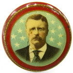 Theodore Roosevelt celluloid campaign button from 1904. Image courtesy LiveAuctioneers.com Archive and Dirk Soulis Auctions.