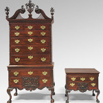"""Left: High Chest of Drawers, 1765-75. American, Late Baroque with Rococo carving, Mahogany, yellow poplar, white cedar, yellow pine; brass.8 feet 3/4 inches x 46 1/2 x 25 3/4 inches (245.7 x 118.1 x 65.4 cm). Philadelphia Museum of Art, Gift of Mrs. Henry V. Greenough, 1957 Right: Dressing Table, 1765-75. American, Late Baroque with Rococo carving, Mahogany, yellow poplar, white cedar, yellow pine; brass. Height: 29 7/8 inches (75.9 cm), Width: 35 inches (88.9 cm), Depth: 23 1/4 inches (59.1 cm). Philadelphia Museum of Art. The purchase of """"The Fox and the Grapes"""" Dressing Table is being made possible by the leadership support of Leslie A. Miller and Richard B. Worley, Kathy and Ted Fernberger, Marguerite and Gerry Lenfest, and Mrs. J. Maxwell Moran, as well as the generosity of Donna C. and Morris W. Stroud II, Dr. and Mrs. Robert E. Booth, Jr., Mr. and Mrs. Frederick Vogel III, Peggy Cooke, and other generous individuals, and funds raised from deaccessioned works of art."""